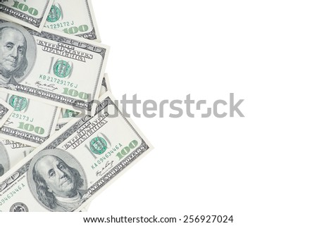 One hundred US dollar banknotes isolated on white background - stock photo