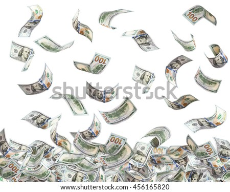 One hundred US dollar bills are falling in a big pile of dollars. Isolated on white background. Finance concept.