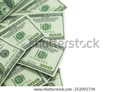 One hundred US dollar isolated on white background