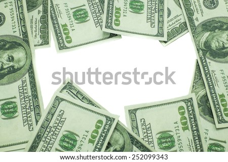 One hundred US dollar isolated on white background with space on the center