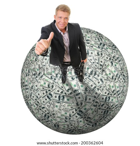 One hundred US dollars bills pile as background. Isolated on white background - stock photo