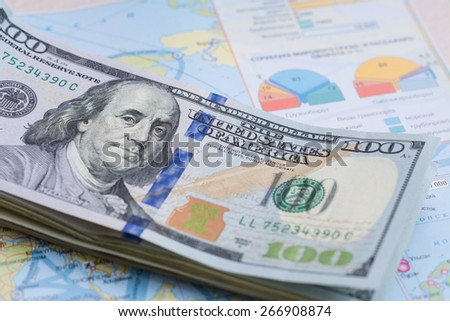 One hundred USA dollars bills. A bundle of money - stock photo