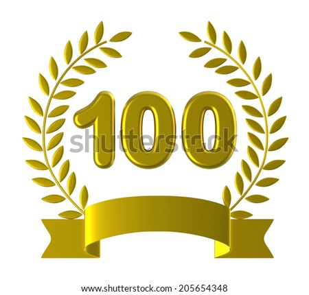 One Hundredth Showing Birthday Party And Greeting - stock photo