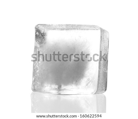 one ice cubes isolated with white background  - stock photo