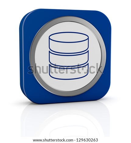 one icon with database symbol (3d render)