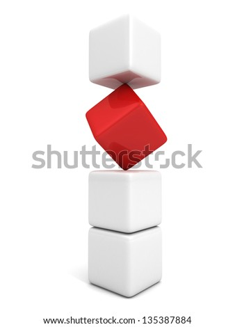 One individuality red cube in white stack tower - stock photo