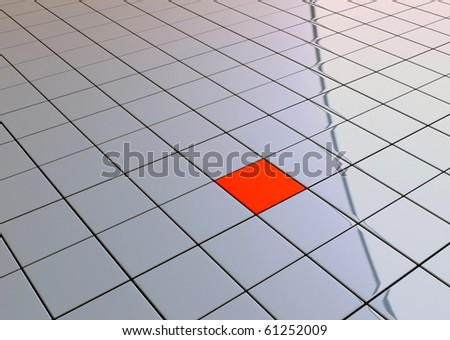 One individuality red cube on reflective tile floor