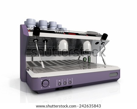one industrial coffee machine and cup