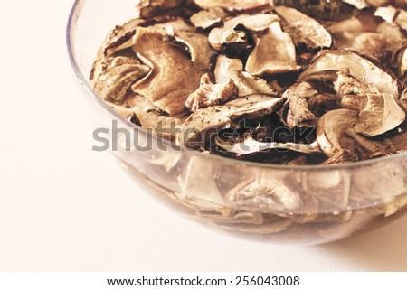 One ingredient to make sauce with mushrooms. This sauce is veg and delicious: great taste! - stock photo