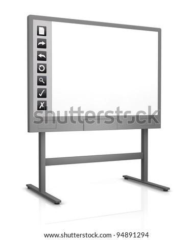 one interactive whiteboard with an empty display (3d render) - stock photo