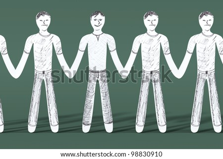One is happy while the rest is sad. 3D rendered illustration. - stock photo