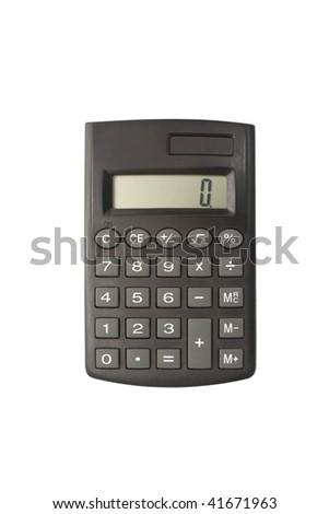 One isolated calculator in a white background - stock photo