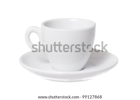 One isolated cup and saucer on white background. - stock photo
