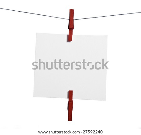 One isolated note paper drying on the rope with two clothes-peg