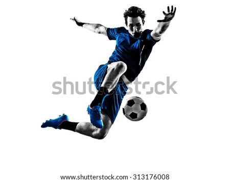 One Italian Soccer Player Man Playing Football Jumping In Silhouette White Background - stock photo