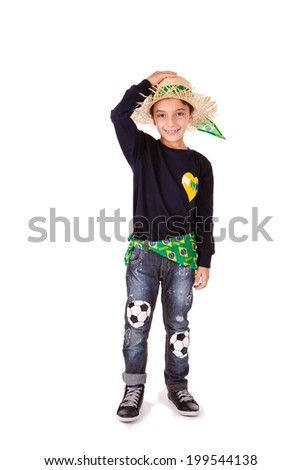 One kid wearing generic caipira clothes as in every Festa Junina or June Festivals in Brazil.