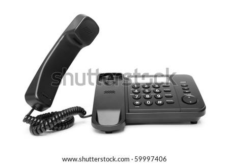 One landline phone on white background - stock photo