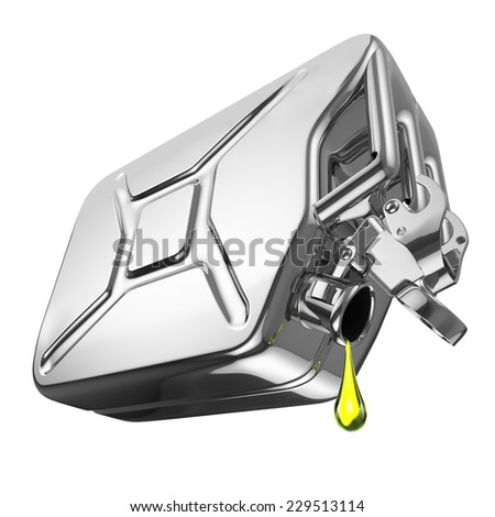 One last drop of fuel from jerrycan. Engine oil and aluminium canister isolated on white background. 3d - stock photo