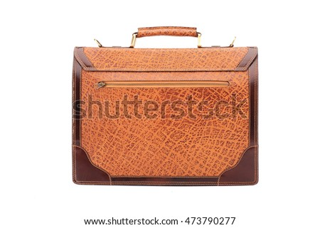 One  leather business briefcase .Isolated on the white background.Men's fashion accessories.