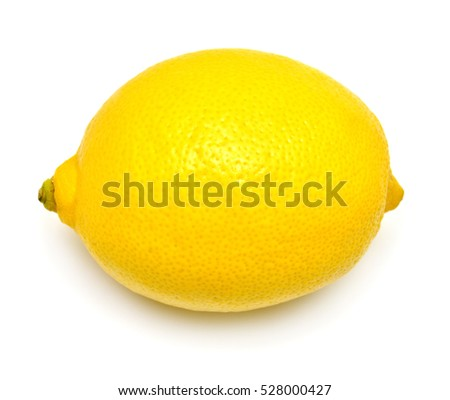One lemon isolated on white background. Tropical fruit. Flat lay, top view