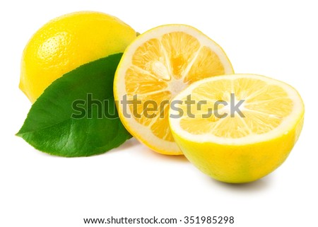 one lemon with leaves and slices on white background.