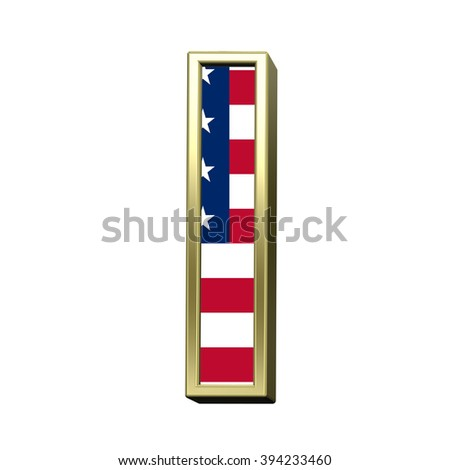 One letter from american flag alphabet set isolated over white. Computer generated 3D photo rendering.