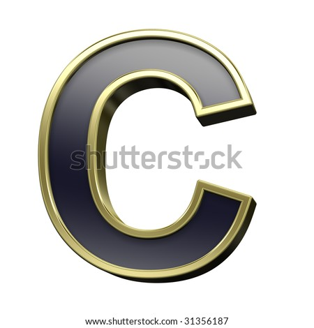 One letter from black with gold shiny frame alphabet set, isolated on white. Computer generated 3D photo rendering.
