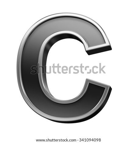 One letter from black with silver shiny frame alphabet set, isolated on white. Computer generated 3D photo rendering.