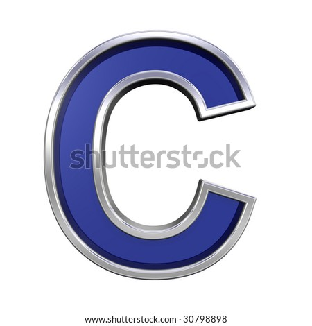 One letter from blue glass with chrome frame alphabet set, isolated on white. Computer generated 3D photo rendering.