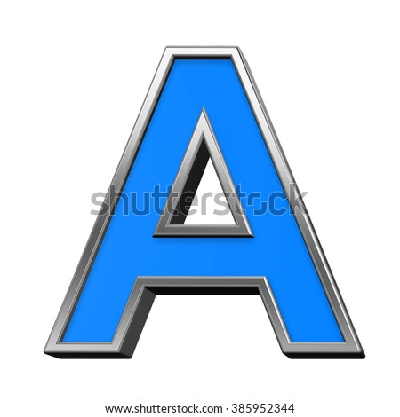 One letter from blue with silver shiny frame alphabet set, isolated on white. Computer generated 3D photo rendering.