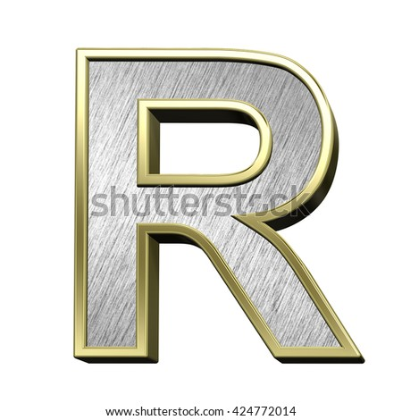One letter from brushed stainless steel with gold frame alphabet set, isolated on white. 3D illustration.