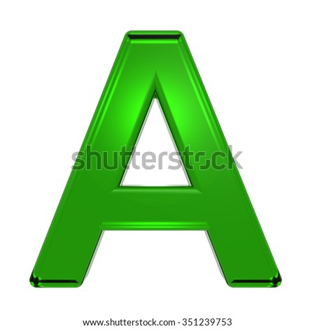 One letter from emerald alphabet set, isolated on white. Computer generated 3D photo rendering.