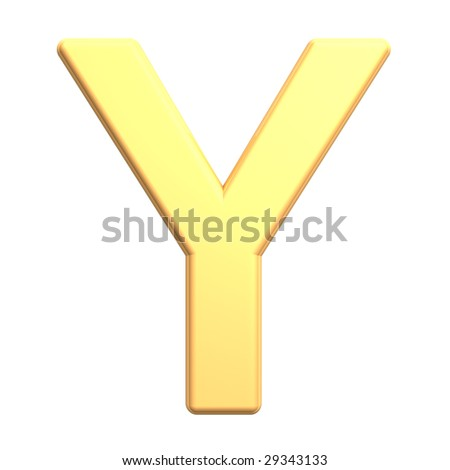 One letter from gold alphabet set, isolated on white. Computer generated 3D photo rendering.