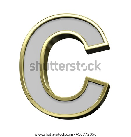 One letter from gray with gold frame alphabet set, isolated on white. 3D illustration.