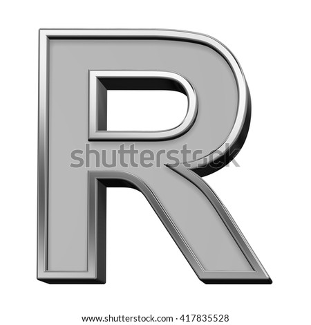 One letter from gray with silver frame alphabet set, isolated on white. 3D illustration.