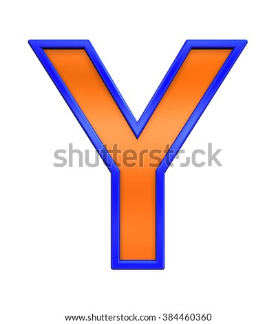 One letter from orange glass with blue frame alphabet set, isolated on white. Computer generated 3D photo rendering.