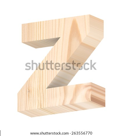 One letter from pine wood alphabet set isolated over white. Computer generated 3D photo rendering.