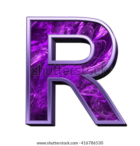 One letter from purple fractal alphabet set isolated over white. 3D illustration.