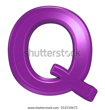 One letter from purple glass alphabet set, isolated on white. Computer generated 3D photo rendering.