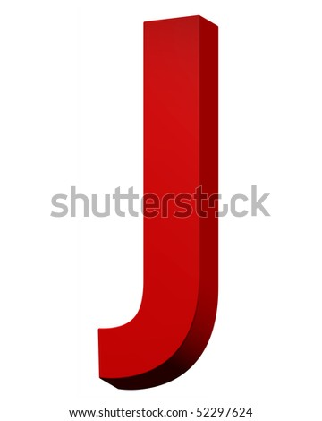 One letter from red alphabet set, isolated on white. Computer generated 3D photo rendering.