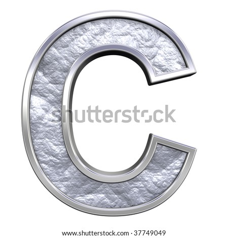 One letter from silver cast alphabet set, isolated on white. Computer generated 3D photo rendering.