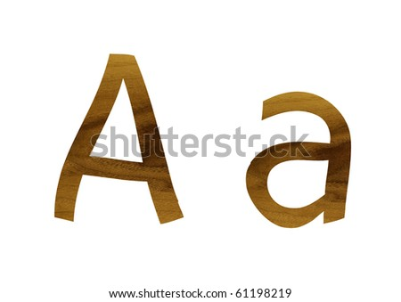 One letter from teak veneer alphabet: the letter A