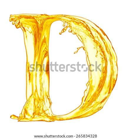 One letter of orange juice splash alphabet - stock photo