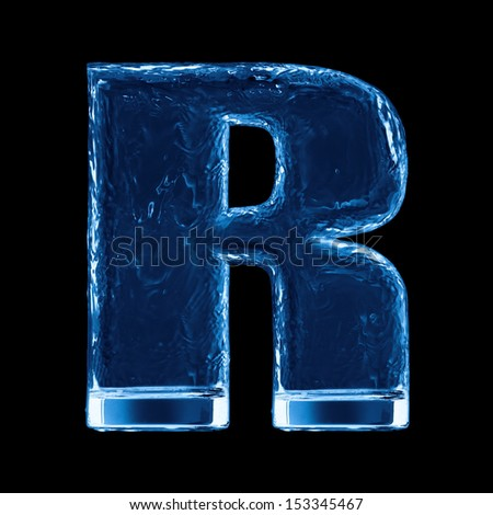 One letter of the alphabet. Water waves in a glass