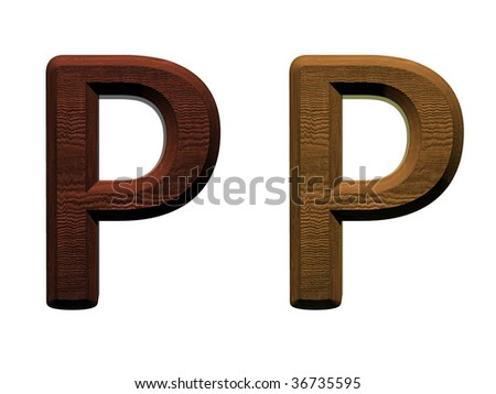 one letter of wooden alphabet. Computer generated 3D photo rendering.