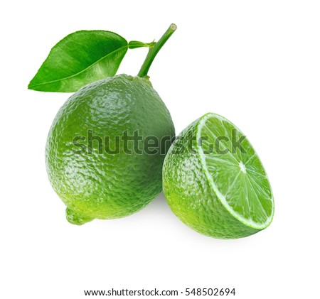 One lime fruit with leaf and a half isolated on white background