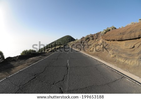 One Lonely Road in the Desert in Tenerife, Spain