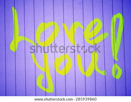 one ''love you'' note - stock photo