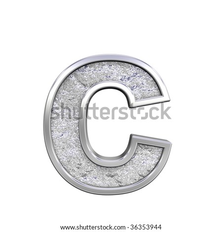 One lower case letter from chrome cast alphabet set, isolated on white. Computer generated 3D photo rendering.