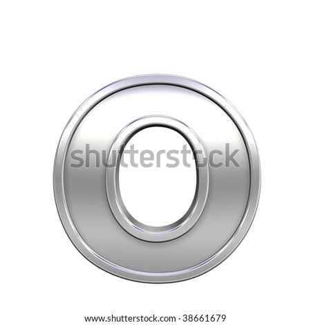 One lower case letter from chrome with frame alphabet set, isolated on white. Computer generated 3D photo rendering.